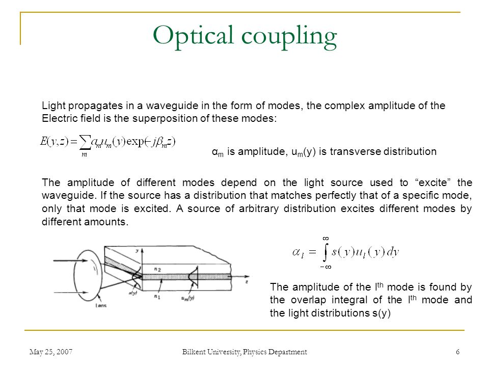 May 25, 2007 Bilkent University, Physics Department 6 Optical coupling The amplitude of different modes depend on the light source used to excite the waveguide.