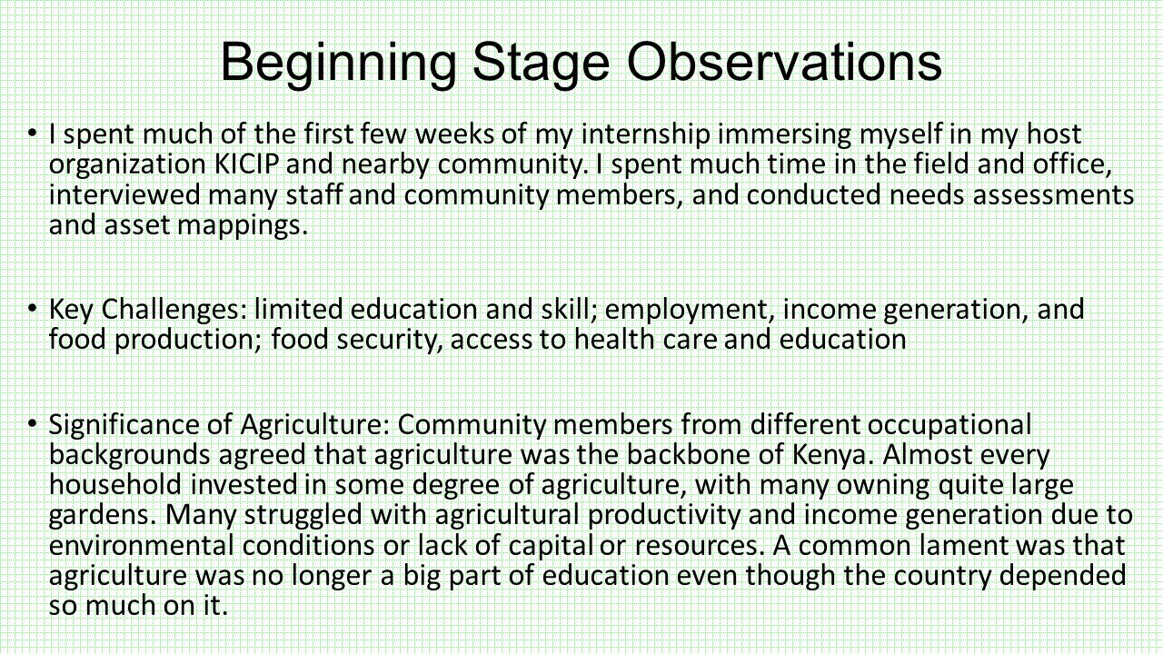Beginning Stage Observations I spent much of the first few weeks of my internship immersing myself in my host organization KICIP and nearby community.