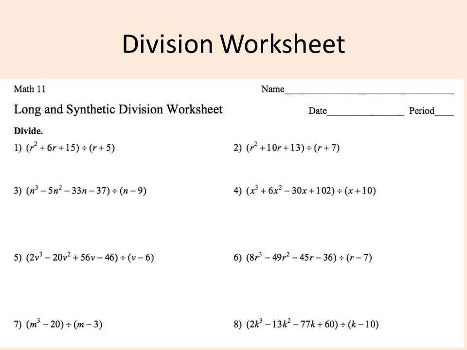 Polynomial Long Division Worksheet Davezan – Polynomial Long Division Worksheets