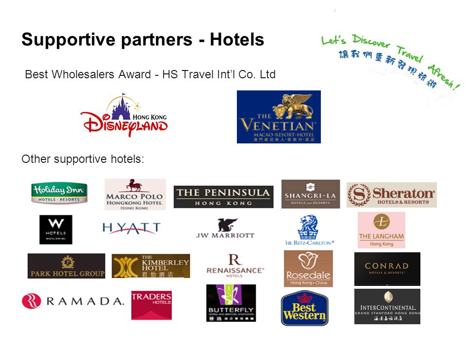 Supportive partners - Hotels Best Wholesalers Award - HS Travel Int'l Co.