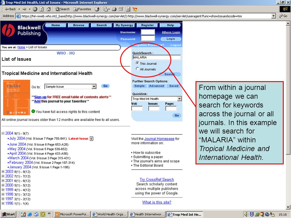 Synergy – Quick search From within a journal homepage we can search for keywords across the journal or all journals.