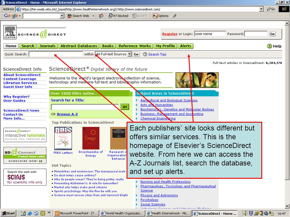 ScienceDirect 1 Each publishers' site looks different but offers similar services.
