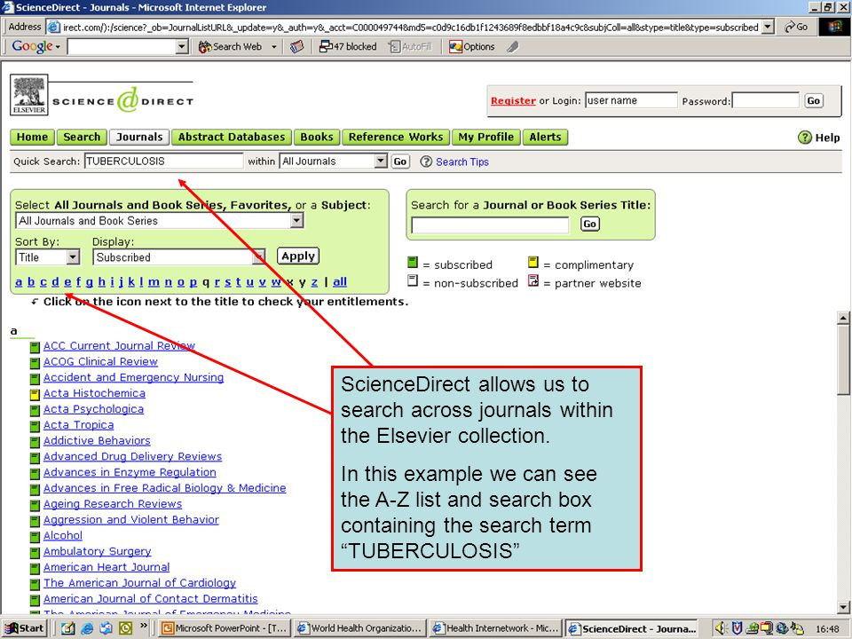 ScienceDirect 2 ScienceDirect allows us to search across journals within the Elsevier collection.
