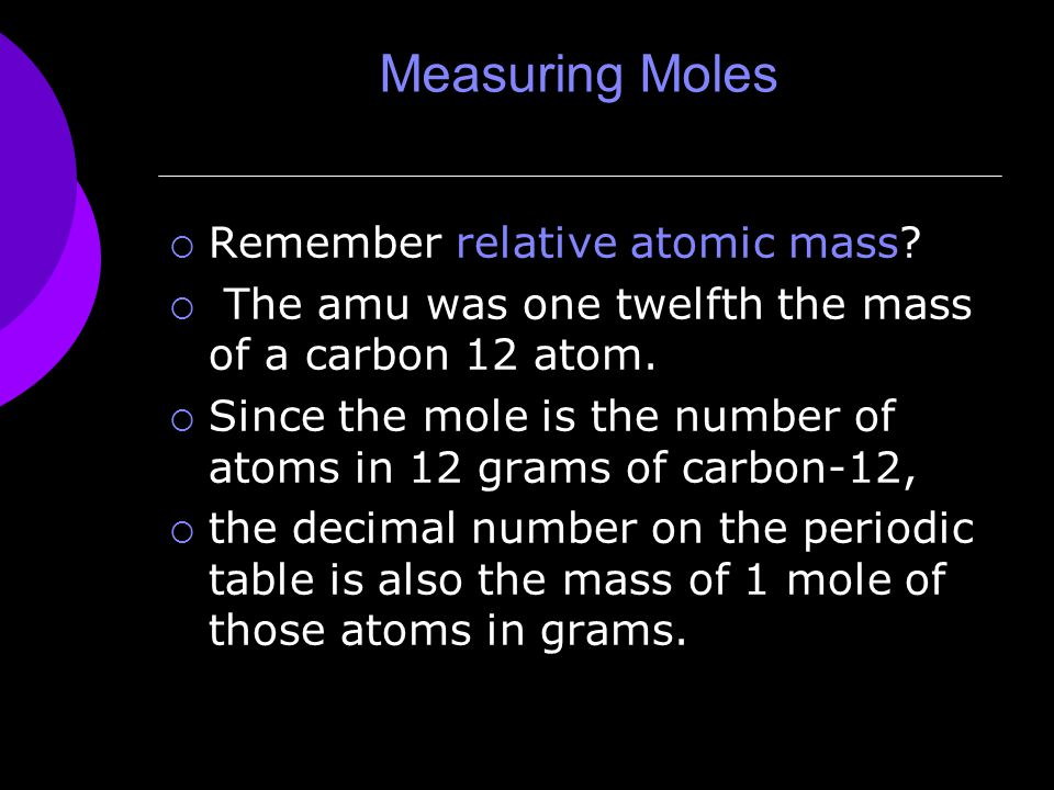 Measuring Moles  Remember relative atomic mass.
