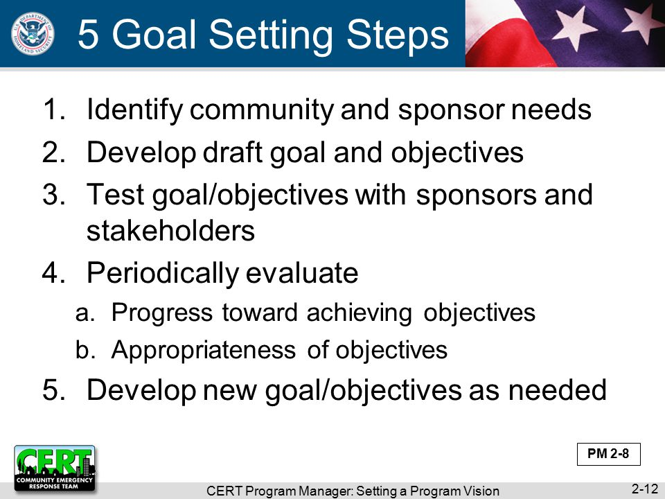 CERT Program Manager: Setting a Program Vision Goal Setting Steps 1.Identify community and sponsor needs 2.Develop draft goal and objectives 3.Test goal/objectives with sponsors and stakeholders 4.Periodically evaluate a.