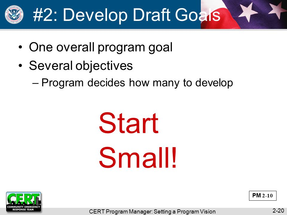 CERT Program Manager: Setting a Program Vision 2-20 #2: Develop Draft Goals One overall program goal Several objectives –Program decides how many to develop Start Small.