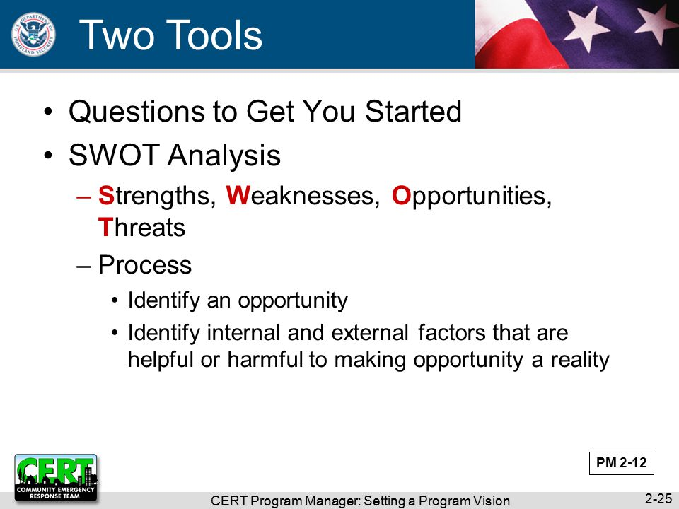 CERT Program Manager: Setting a Program Vision 2-25 Two Tools Questions to Get You Started SWOT Analysis –Strengths, Weaknesses, Opportunities, Threats –Process Identify an opportunity Identify internal and external factors that are helpful or harmful to making opportunity a reality PM 2-12