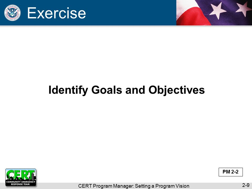 CERT Program Manager: Setting a Program Vision 2-9 Identify Goals and Objectives Exercise PM 2-2