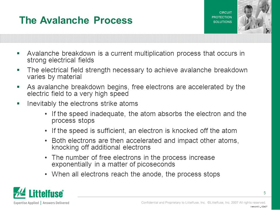 5 Version01_100407 The Avalanche Process  Avalanche breakdown is a current multiplication process that occurs in strong electrical fields  The electrical field strength necessary to achieve avalanche breakdown varies by material  As avalanche breakdown begins, free electrons are accelerated by the electric field to a very high speed  Inevitably the electrons strike atoms If the speed inadequate, the atom absorbs the electron and the process stops If the speed is sufficient, an electron is knocked off the atom Both electrons are then accelerated and impact other atoms, knocking off additional electrons The number of free electrons in the process increase exponentially in a matter of picoseconds When all electrons reach the anode, the process stops