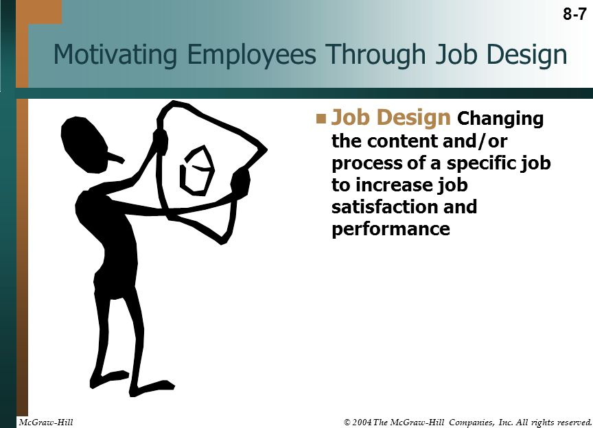 Motivating Employees Through Job Design Job Design Changing the content and/or process of a specific job to increase job satisfaction and performance 8-7 McGraw-Hill © 2004 The McGraw-Hill Companies, Inc.