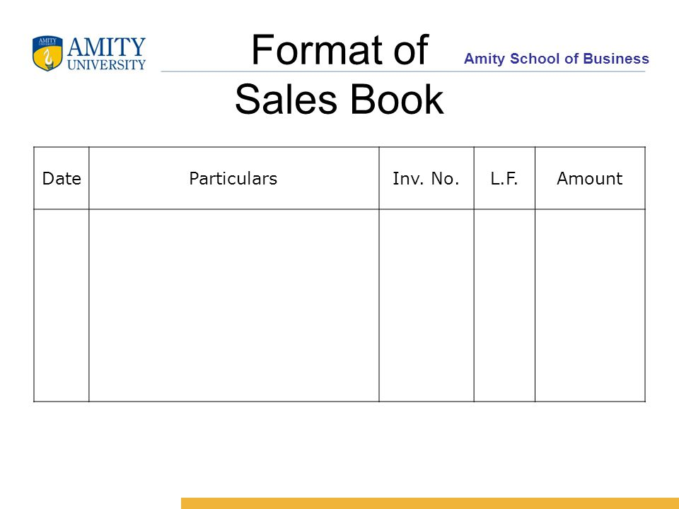 Amity School of Business Format of Sales Book DateParticularsInv. No.L.F.Amount