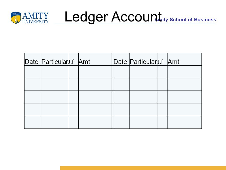 Amity School of Business Ledger Account DateParticular J.f Amt DateParticular J.f Amt