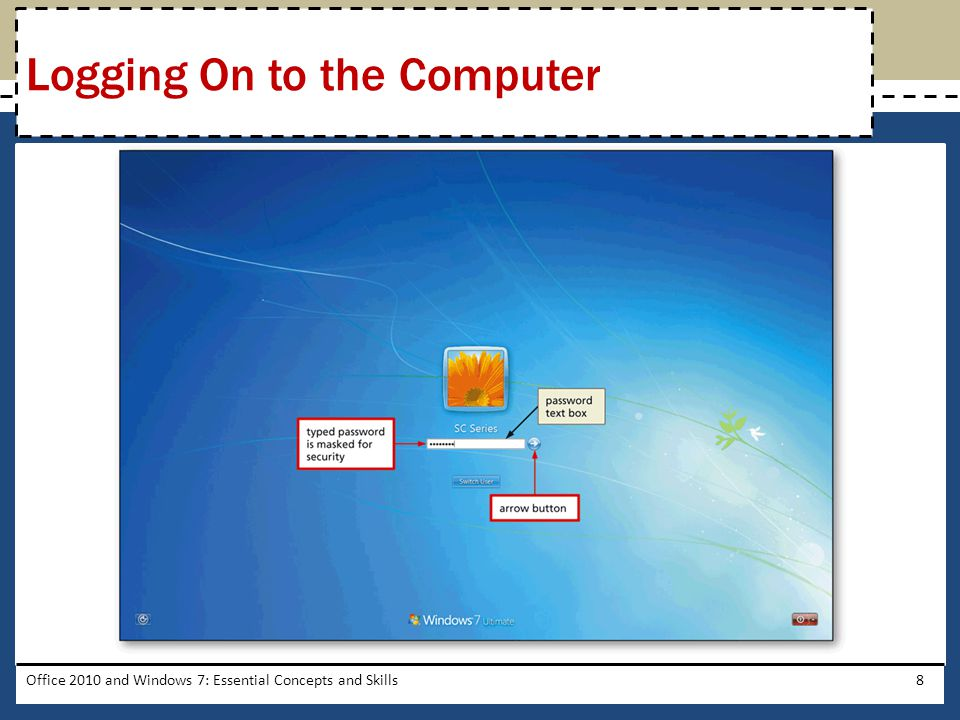 Office 2010 and Windows 7: Essential Concepts and Skills8 Logging On to the Computer