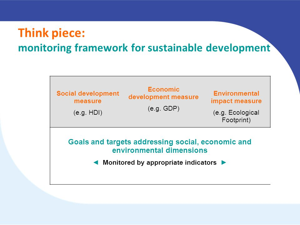 Goals and targets addressing all dimensions: Social development measure (e.g.