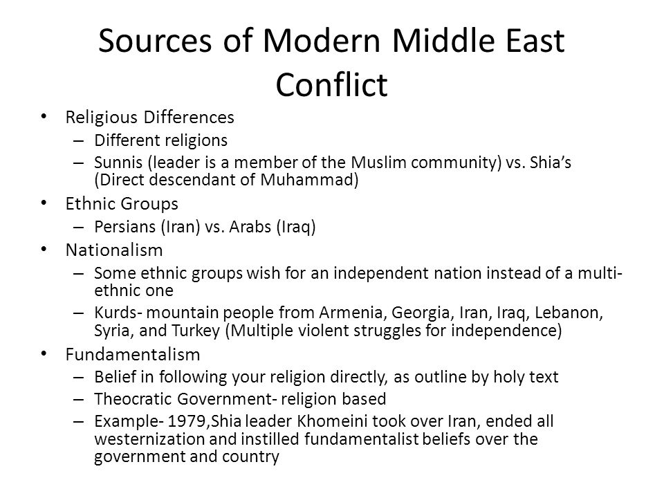 Sources of Modern Middle East Conflict Religious Differences – Different religions – Sunnis (leader is a member of the Muslim community) vs.