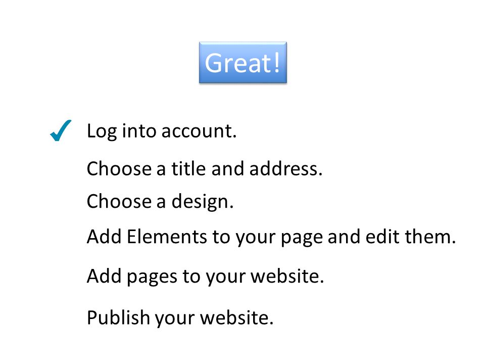 Great. Log into account. Add Elements to your page and edit them.