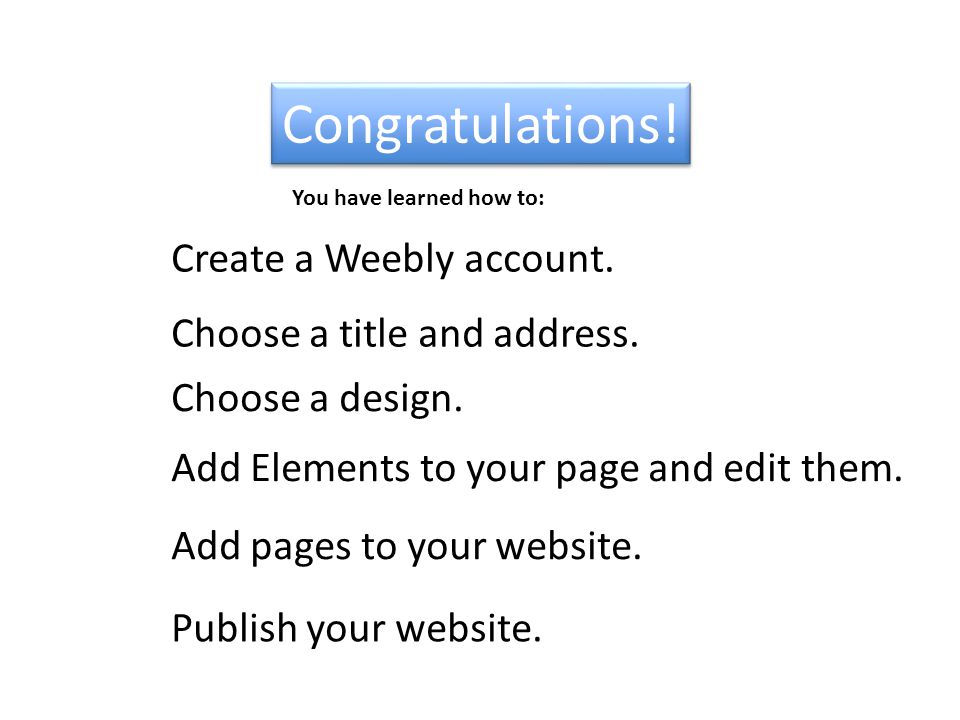 Congratulations. Create a Weebly account. Add Elements to your page and edit them.