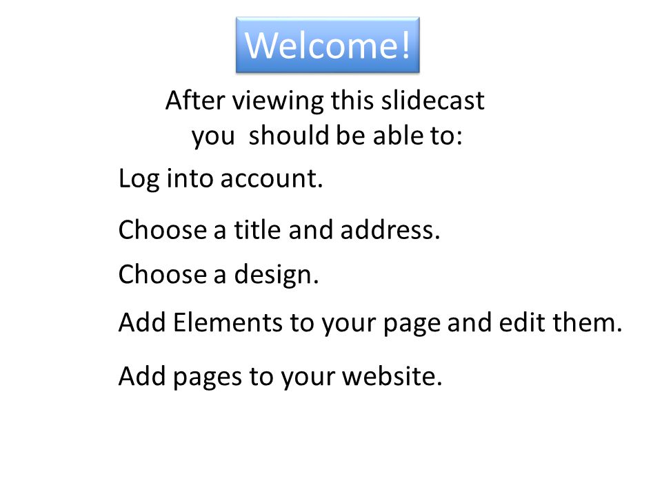 Welcome. Add Elements to your page and edit them.