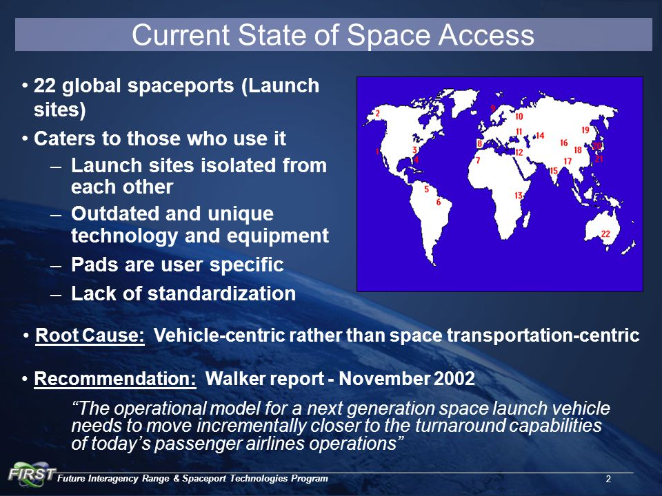 Future Interagency Range & Spaceport Technologies Program 2 Current State of Space Access 22 global spaceports (Launch sites) Caters to those who use it –Launch sites isolated from each other –Outdated and unique technology and equipment –Pads are user specific –Lack of standardization The operational model for a next generation space launch vehicle needs to move incrementally closer to the turnaround capabilities of today's passenger airlines operations Recommendation: Walker report - November 2002 Root Cause: Vehicle-centric rather than space transportation-centric