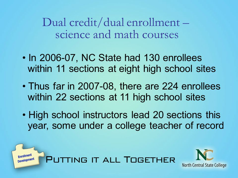 Dual credit/dual enrollment – science and math courses In , NC State had 130 enrollees within 11 sections at eight high school sites Thus far in , there are 224 enrollees within 22 sections at 11 high school sites High school instructors lead 20 sections this year, some under a college teacher of record