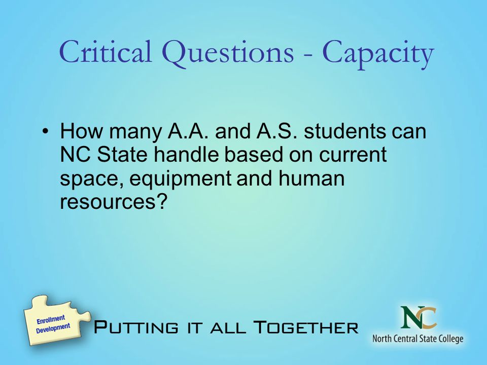 Critical Questions - Capacity How many A.A. and A.S.