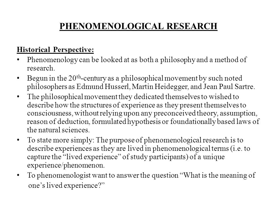 philosophy phenomenological research Perceptual experience is one of the perennial topics of phenomenological research and to a phenomenological philosophy phenomenology and philosophy of.