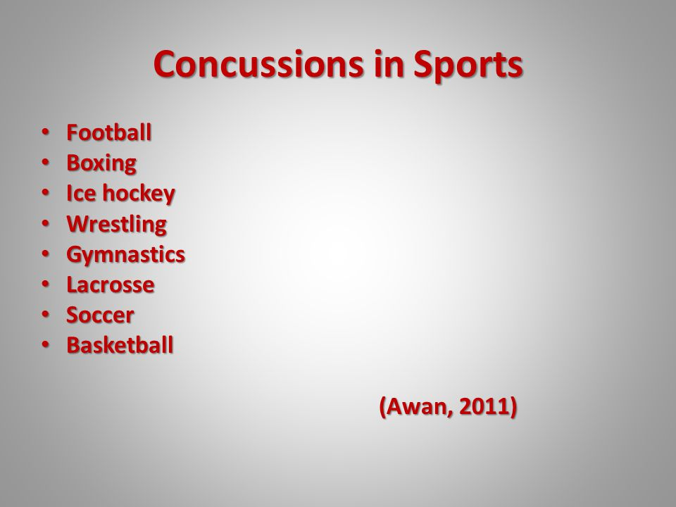 Concussions in Sports Football Football Boxing Boxing Ice hockey Ice hockey Wrestling Wrestling Gymnastics Gymnastics Lacrosse Lacrosse Soccer Soccer Basketball Basketball (Awan, 2011)