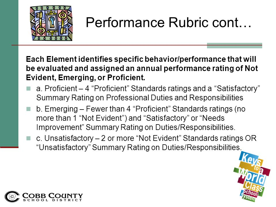 Performance Rubric The Cobb Keys Leader's Performance Standard Rubric establishes the 8 Standards which are the framework for the evaluation instrument used to assess a Leader's annual performance.
