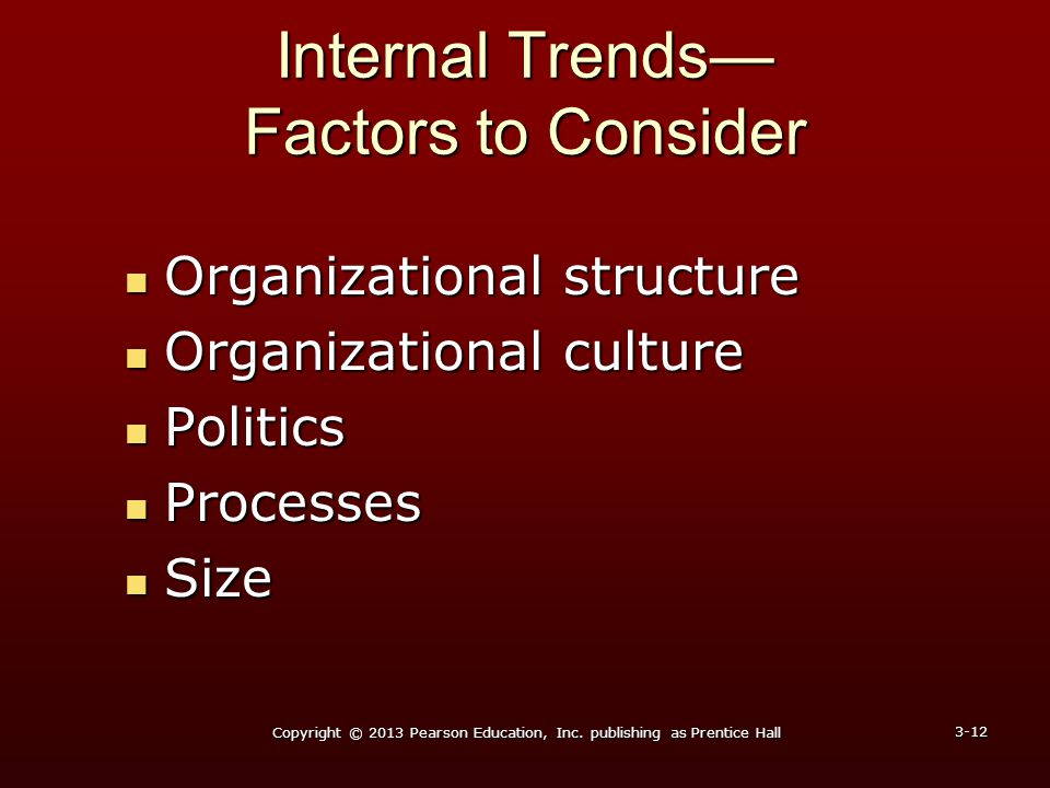 Internal Trends— Factors to Consider Organizational structure Organizational structure Organizational culture Organizational culture Politics Politics
