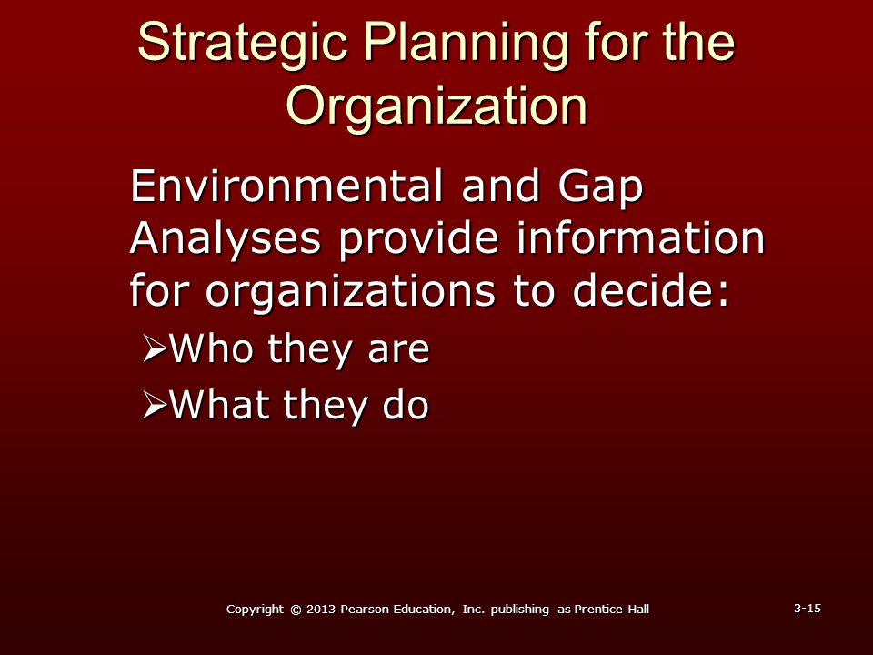 Strategic Planning for the Organization Environmental and Gap Analyses provide information for organizations to decide:  Who they are  What they do