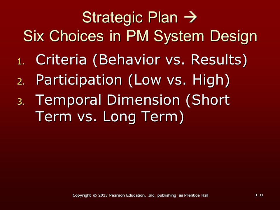Strategic Plan  Six Choices in PM System Design 1. Criteria (Behavior vs. Results) 2. Participation (Low vs. High) 3. Temporal Dimension (Short Term