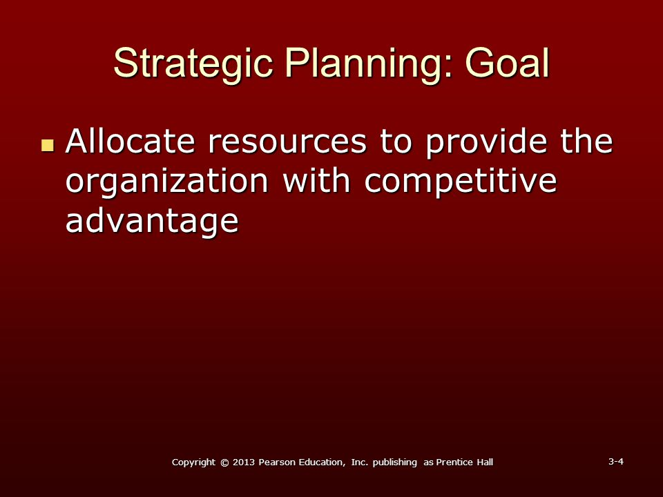 Strategic Planning: Goal Allocate resources to provide the organization with competitive advantage Allocate resources to provide the organization with
