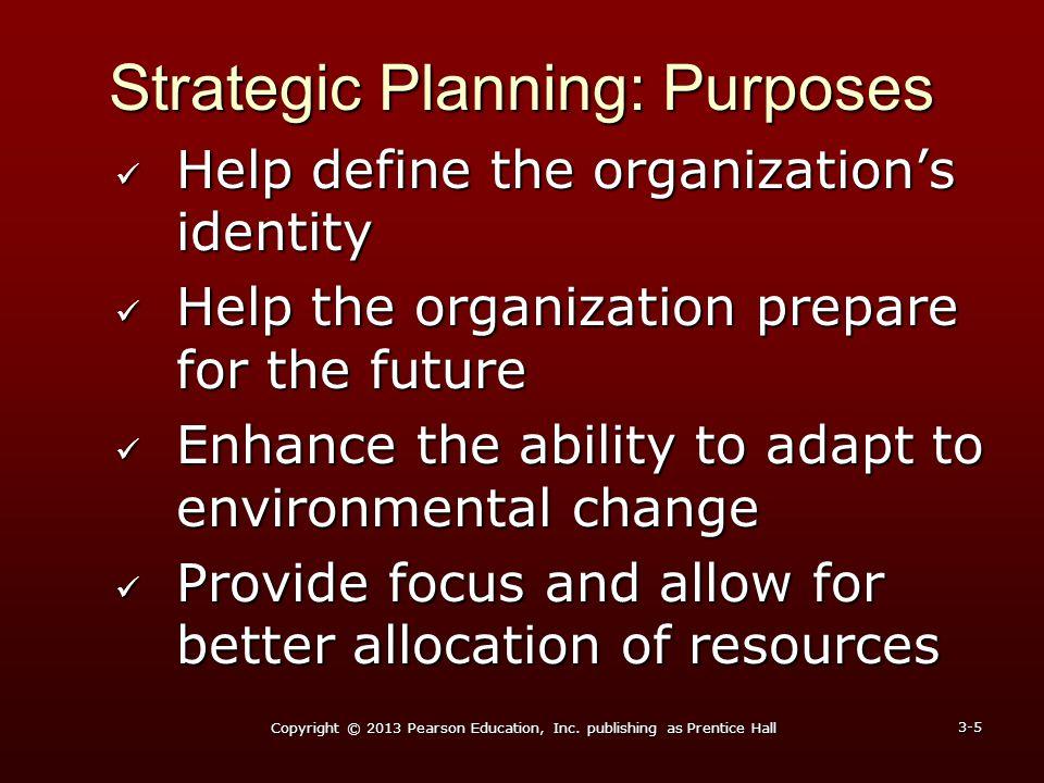 Strategic Planning: Purposes Help define the organization's identity Help define the organization's identity Help the organization prepare for the fut