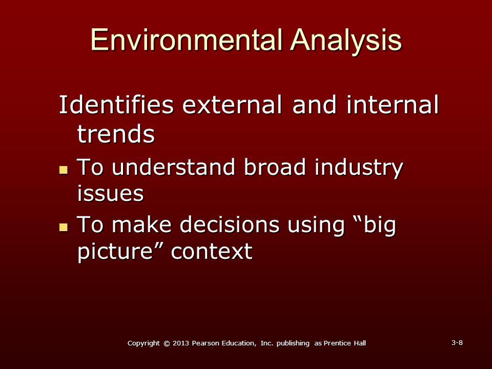 Environmental Analysis Identifies external and internal trends To understand broad industry issues To understand broad industry issues To make decisio