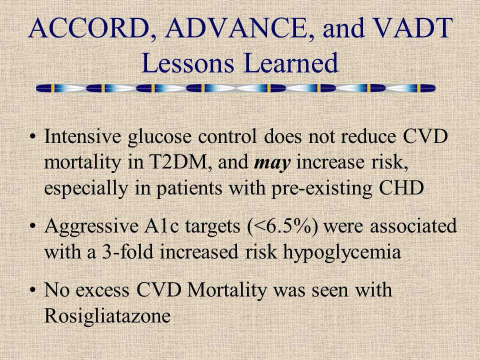 ACCORD, ADVANCE, and VADT Lessons Learned Intensive glucose control does not reduce CVD mortality in T2DM, and may increase risk, especially in patients with pre-existing CHD Aggressive A1c targets (<6.5%) were associated with a 3-fold increased risk hypoglycemia No excess CVD Mortality was seen with Rosigliatazone