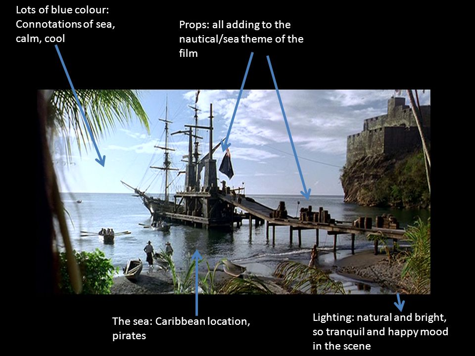 Lots of blue colour: Connotations of sea, calm, cool Props: all adding to the nautical/sea theme of the film The sea: Caribbean location, pirates Lighting: natural and bright, so tranquil and happy mood in the scene