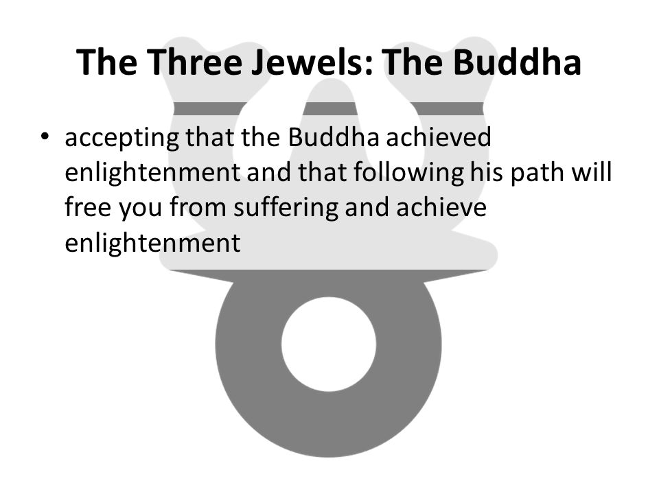 The Three Jewels: The Buddha accepting that the Buddha achieved enlightenment and that following his path will free you from suffering and achieve enlightenment