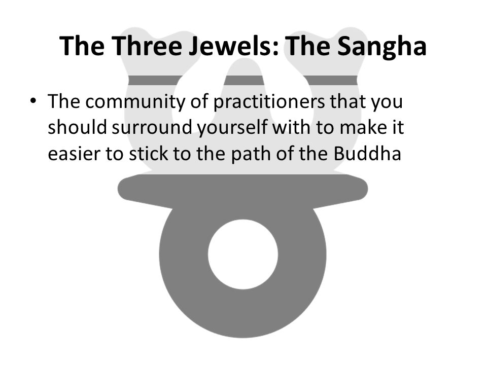 The Three Jewels: The Sangha The community of practitioners that you should surround yourself with to make it easier to stick to the path of the Buddha