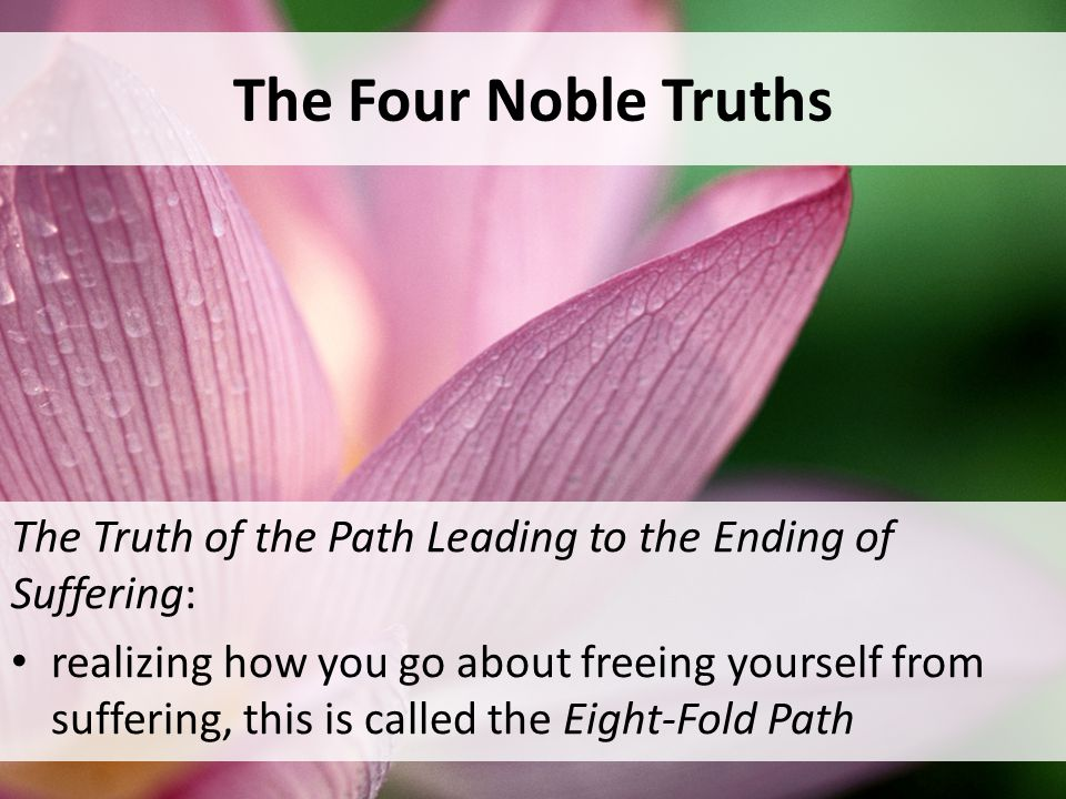 The Four Noble Truths The Truth of the Path Leading to the Ending of Suffering: realizing how you go about freeing yourself from suffering, this is called the Eight-Fold Path