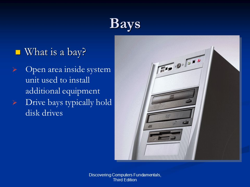 Discovering Computers Fundamentals, Third Edition Bays What is a bay.