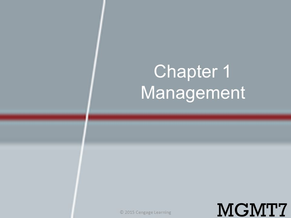 Chapter 1 Management © 2015 Cengage Learning MGMT7