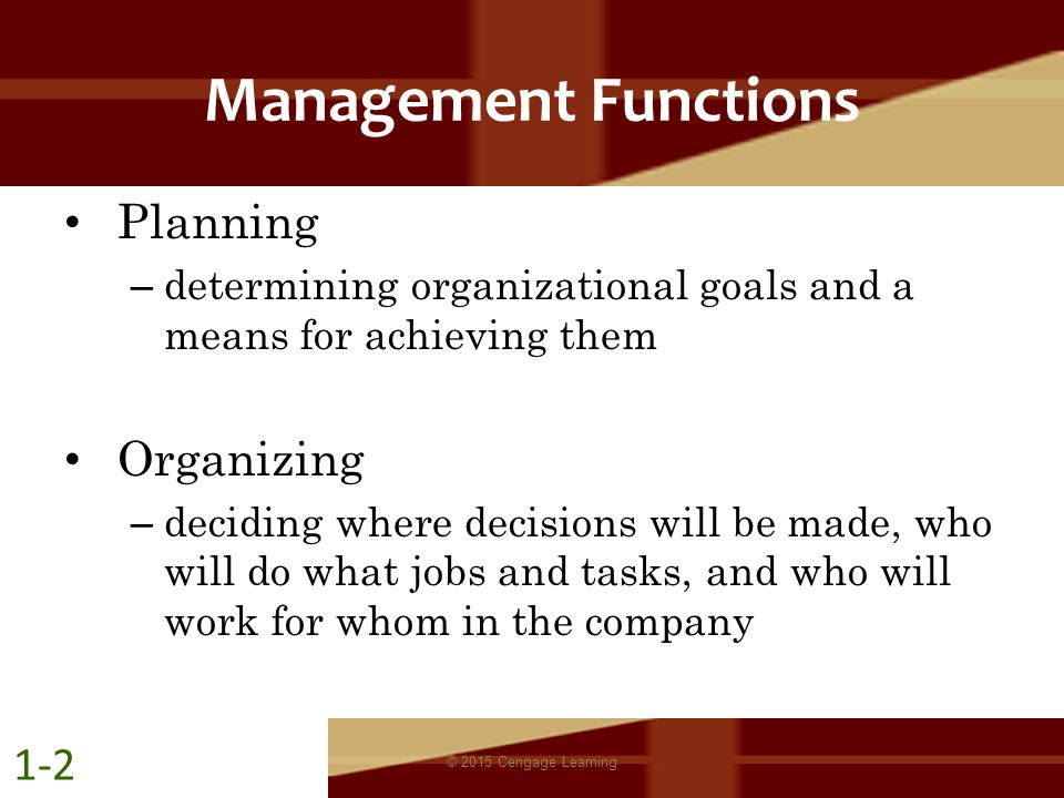 Management Functions Planning – determining organizational goals and a means for achieving them Organizing – deciding where decisions will be made, wh