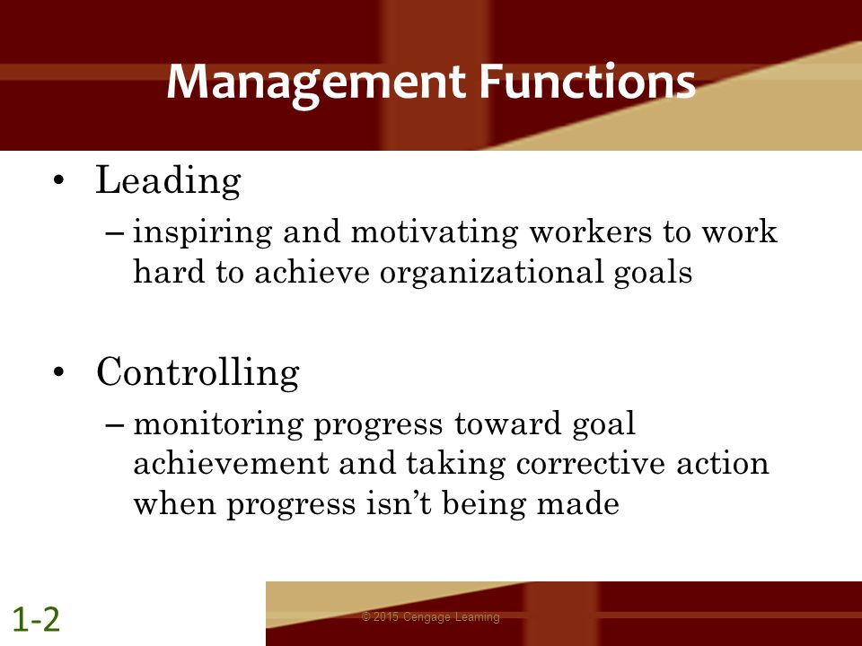 Management Functions Leading – inspiring and motivating workers to work hard to achieve organizational goals Controlling – monitoring progress toward
