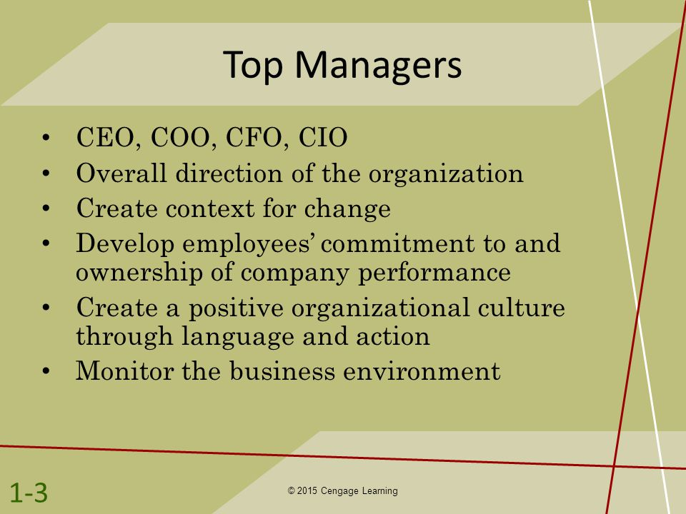 Top Managers CEO, COO, CFO, CIO Overall direction of the organization Create context for change Develop employees' commitment to and ownership of comp