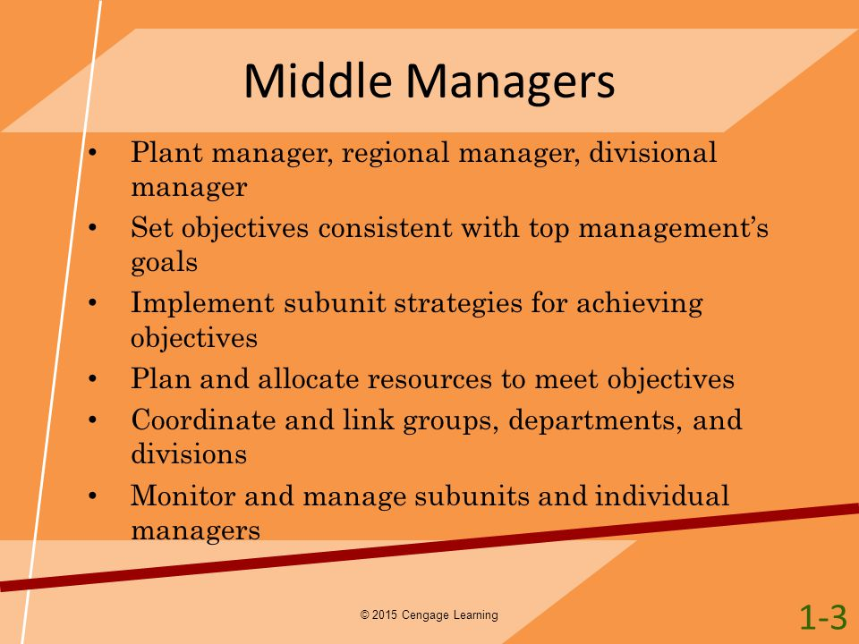 Middle Managers Plant manager, regional manager, divisional manager Set objectives consistent with top management's goals Implement subunit strategies