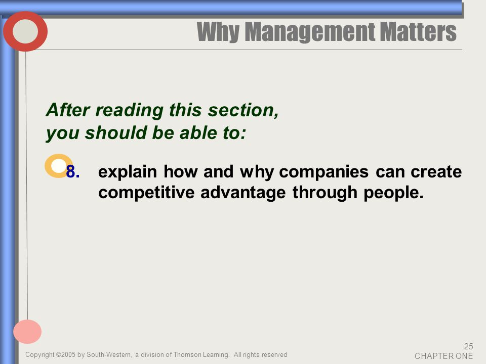 Copyright ©2005 by South-Western, a division of Thomson Learning. All rights reserved 25 CHAPTER ONE Why Management Matters After reading this section