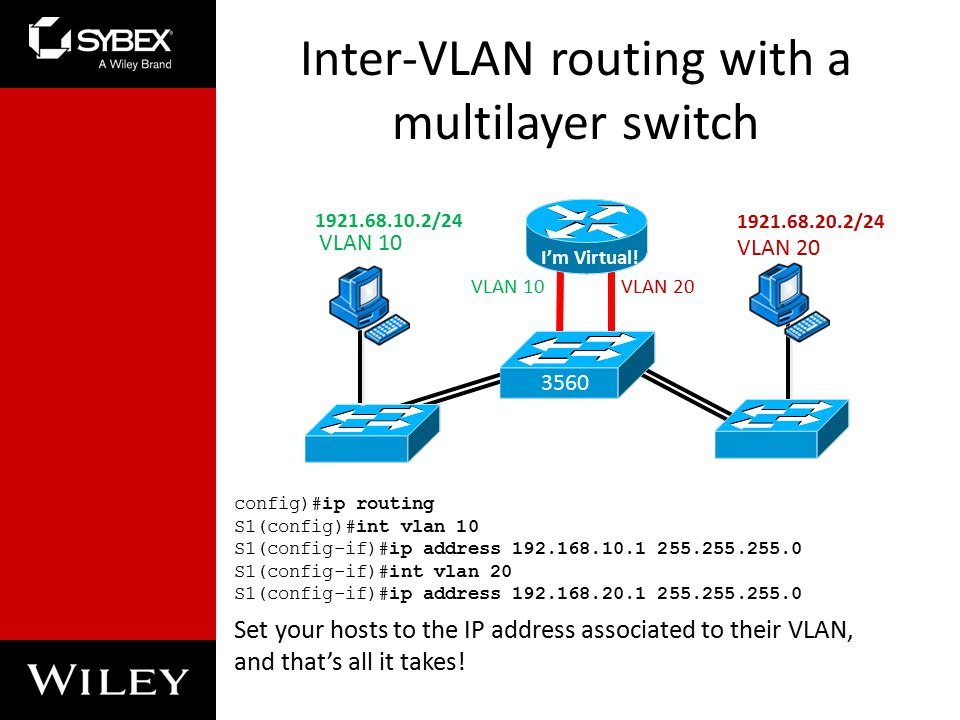 Inter-VLAN routing with a multilayer switch config)#ip routing S1(config)#int vlan 10 S1(config-if)#ip address S1(config-if)#int vlan 20 S1(config-if)#ip address Set your hosts to the IP address associated to their VLAN, and that's all it takes.