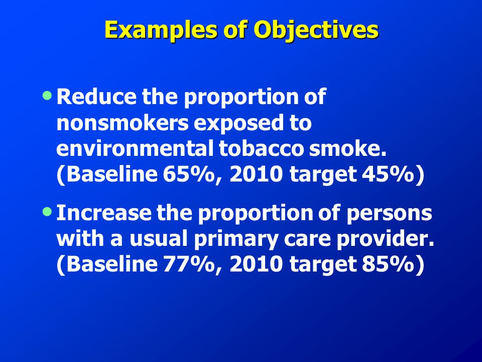 Examples of Objectives Reduce the proportion of nonsmokers exposed to environmental tobacco smoke.
