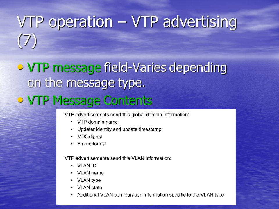 VTP operation – VTP advertising (7) VTP message field-Varies depending on the message type.