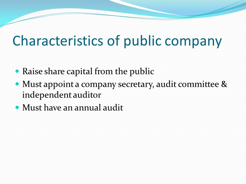Characteristics of public company Raise share capital from the public Must appoint a company secretary, audit committee & independent auditor Must have an annual audit